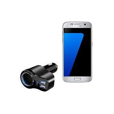 Carregador de carro BoxWave para Samsung Galaxy S7 [Carregador de carro PD XtraPower] com duas portas USB e uma porta tipo C para Samsung Galaxy S7 - Preto