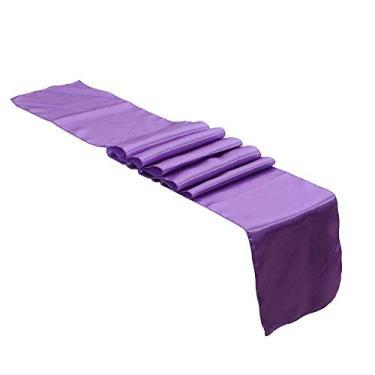 Imagem de interjunzhan Toalha de mesa de cor sólida tapete de toalha de mesa festa de casamento recepção banquete decoração de evento roxo