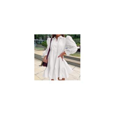 Imagem de Mini vestido zanzea feminino de manga bujão de verão com botão frouxo e folgado vestido camisa com babados Branco S
