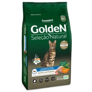Ração Golden Seleção Natural Gatos Castrados Frango Com Abóbora E Alecrim 10,1Kg