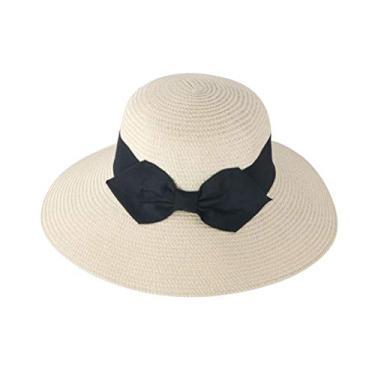 PRETYZOOM Chapéu de palha de praia chapéu de sol com laço para decoração de primavera e verão ao ar livre (bege, adulto) chapéu de sol de verão