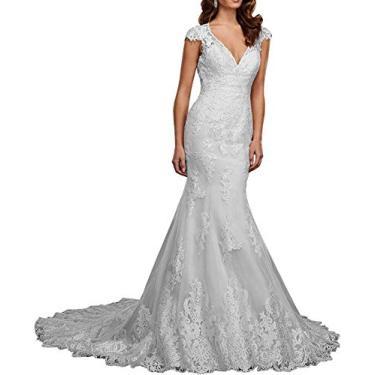 Imagem de Vestido de noiva plus size de renda com lantejoulas, vestido longo de festa de praia sereia para noiva 2021, Branco, 18 Plus