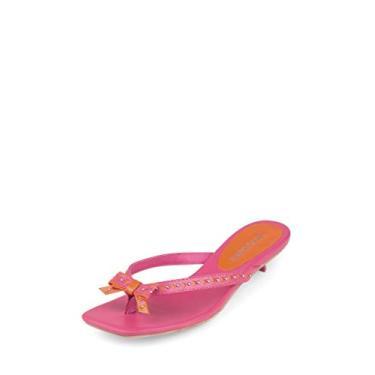 Imagem de Jeffrey Campbell SLAPPIN Sandália de dedo rosa e laranja, rosa, 7.5