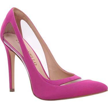 Sapato Scarpin Feminino em Nobuck e Vinil Transparente Cecconello 1346005-37-Pink