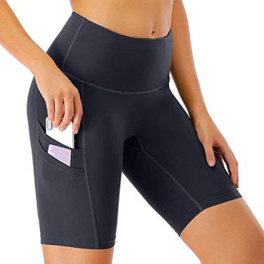 Calça legging feminina de corrida Hajotrawa para academia, barriga, ioga, controle de bicicleta, Cinza, M