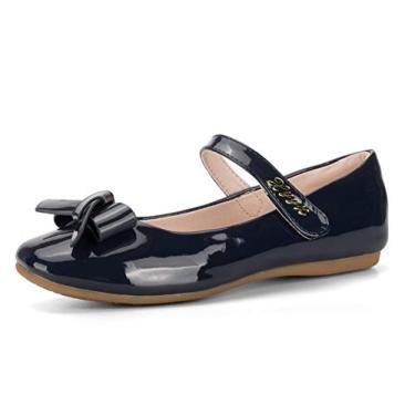 Sapatos de balé Always Pretty Flower Sapatos de princesa (Bebê/Criança pequena/Meninas), Azul marino, 4 Big Kid