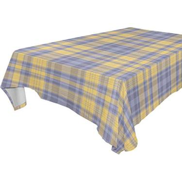 Imagem de My Little Nest Toalha de mesa retangular vintage, amarela, cinza, azul, padrão xadrez, lavável, poliéster, toalha de mesa para piquenique, cozinha, jantar, decoração 137 x 183 cm