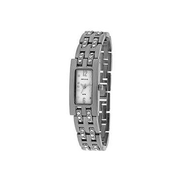 11050811f28 Relógio Feminino Social Prata c  Branco Seculus - 25533L0SBNBB