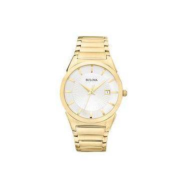 0aa91a79346 Relógio Bulova Masculino Slim Wb21605h Dourado Analogico