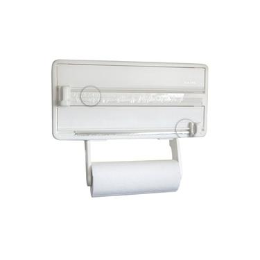 Porta Papel Toalha, Alumínio e Plástico Filme 3 em 1 Branco