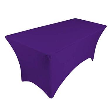 Imagem de Baosity Toalha de mesa ajustável de poliéster retangular elástica capa de mesa banquete festa Show - Roxo
