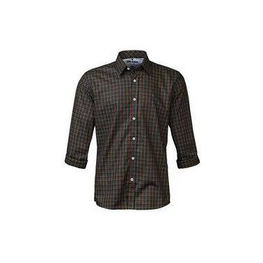 Camisa Masculina Manga Longa Made In Mato Xadrez Preto 43200f50840