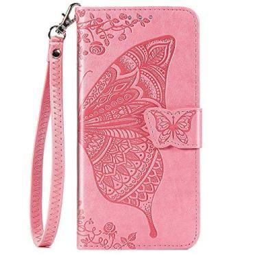 JZ Capa de celular borboleta e flor para Samsung A21s série em relevo capa carteira flip com [alça de pulso] - Rosa