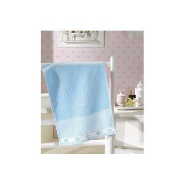 Imagem de Toalha de Lavabo para Bordar Dohler Baby Classic Velour Coroinhas Azul