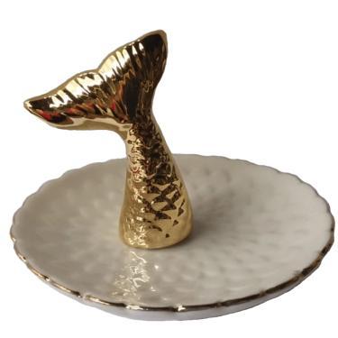 Porta Jóias Cauda de Sereia Dourado