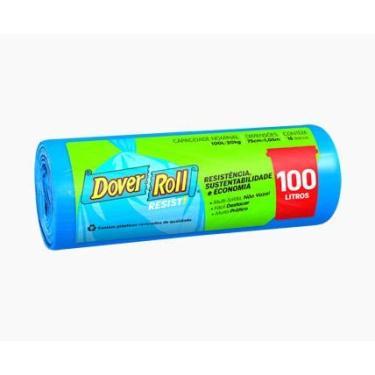 Saco para lixo Dover-Roll Resist!, 100 litros, azul, rolo com 15 sacos