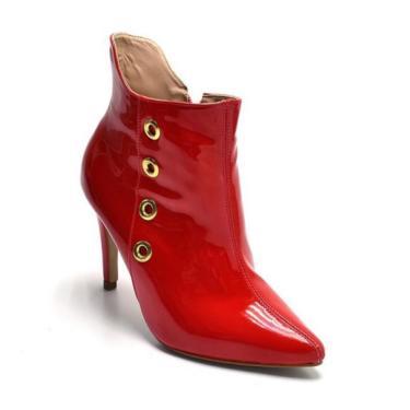 Bota Coturno Cano Curto Bico Fino Em Verniz Vermelho Ilhós Dourado  feminino