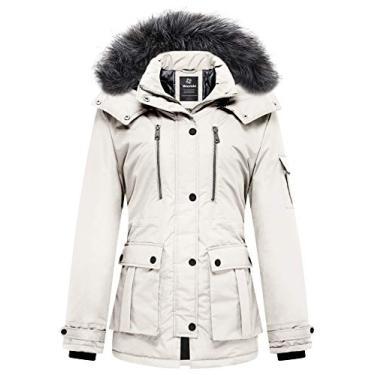 Wantdo Casaco feminino acolchoado de inverno quente parca grossa com capuz removível, Off-white, M