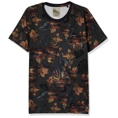Colcci Camiseta Slim Full Print: Folhagens, P, Azul/Verde/Preto/Amarelo/Laranja/Rosa/Roxo/Cinza/Marrom/Vermelho