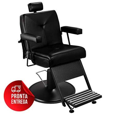 Cadeira de Barbeiro Reclinável Milão - Pé Preto - Preto - PRONTA ENTREGA