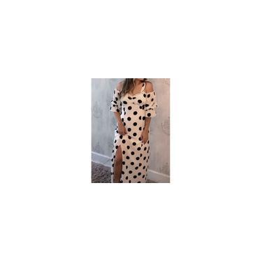 Imagem de Vestido Longo Bolinhas em Crepe de Poá Tamanho M Cor Branco
