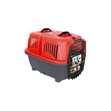 Caixa de Transporte Plast Pet Cargo Kennel Vermelha para Cães e Gatos - Tamanho 4