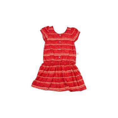 Vestido Infantil Malha Estampada Listrada Strass - Vermelho