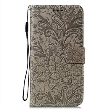 JZ Capa carteira protetora com flores de renda para iPhone 8/7/SE 2020 com alça de pulso e capa flip magnética - cinza