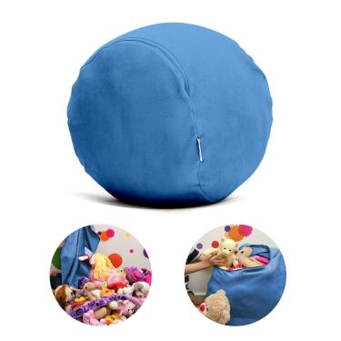 Puff Organizador Infantil para Bichos de Pelúcia Azul Claro