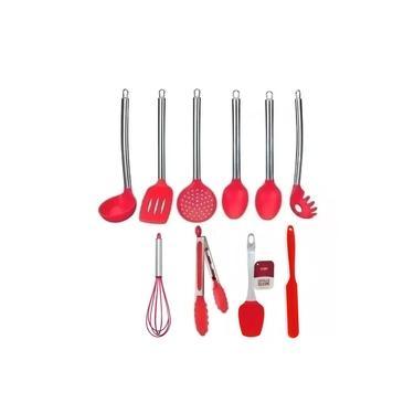Imagem de Conjunto Kit Jogo Colheres De Silicone Cabo Inox 10 Peças Utensílios Cozinha
