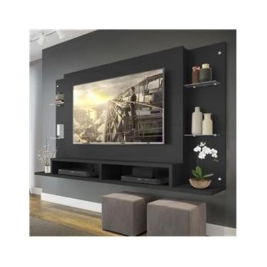 "Painel TV 60"" c/ Prateleiras Vidro Nairóbi Multimóveis"