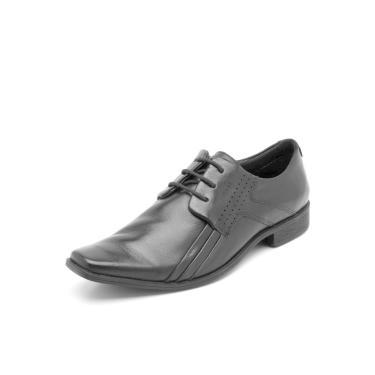 Sapato Social Couro Ferracini Pespontos Preto Ferracini 5068-223G masculino