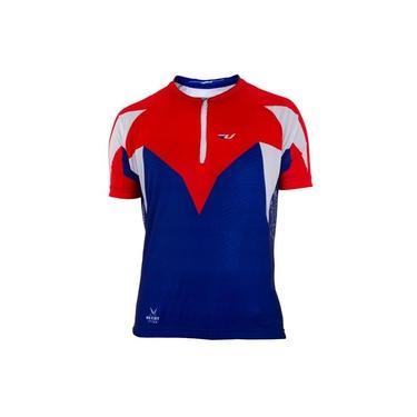 Camisa Ciclismo Ultra Bikes Max Dry Manga Curta Tam G Azul/Vermelha