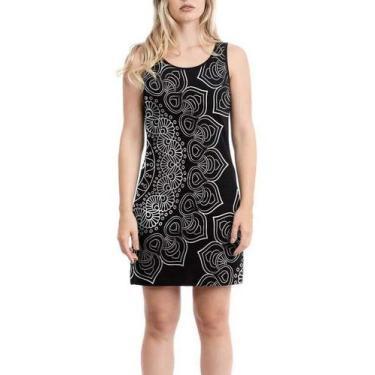 Vestido Regata Mandala Black-roupa Feminina Tamanho:P