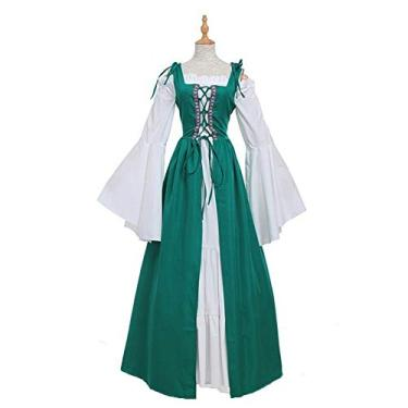 soAR9opeoF Women's Casual Maxi Dress Women's Vintage Cocktail Party Swing Dress,Vintage Women Medieval Square Neck Slim Waist Lace Bandage Maxi Dress Costume XXXXXL Green