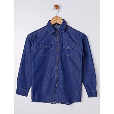 Camisa Jeans Manga Longa Juvenil Para Menino - Azul 10