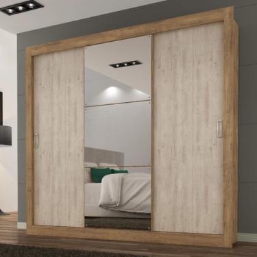 73ab33e164 Guarda Roupa Casal com Espelho 3 Portas 3 Gavetas Smart Maxel Flex Color  Ipê Tex