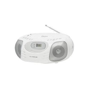Som Portátil Philco Boombox PB119B 5W CD Player Rádio FM Entradas Aux/USB - Branco