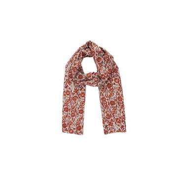 Echarpe Em Algodão Floral Laranja/Vermelho A180X50Cm