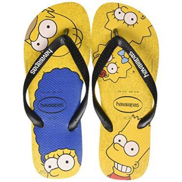 Chinelo, Havaianas, Simpsons, Adulto Unissex, Amarelo Banana/Preto, 45/46