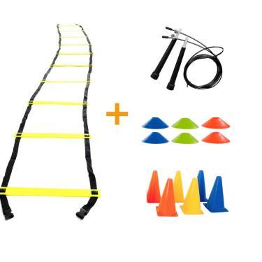 Kit Funcional Escada Agilidade Cones Chapéu Chinês Corda de Pular Yangfit