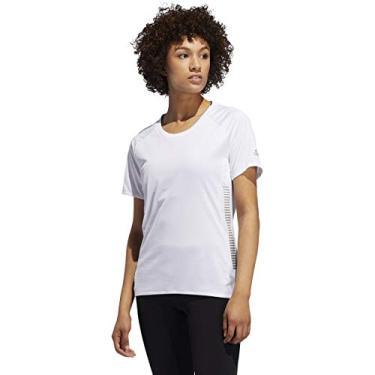 Camiseta de corrida feminina Adidas 25/7, Branco, Small