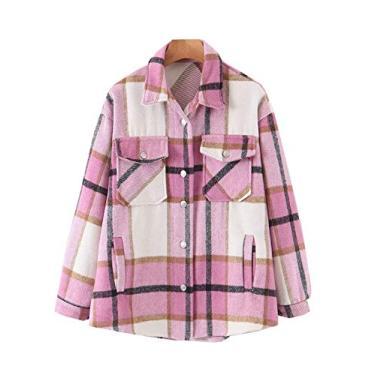 Hongsui Camisa feminina casual xadrez de lã com botões e manga comprida, rosa, L
