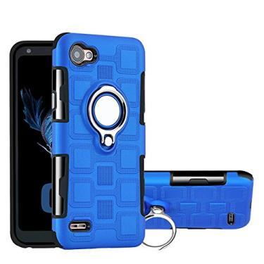 Capa para LG Q6, YINCANG híbrida PC + capa de silicone TPU macio com suporte de anel giratório de 360° e capa protetora de placa de metal com sucção magnética para LG Q6/LG G6 Mini/LG Q6 Plus azul