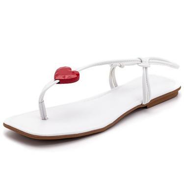 Sandalia Rateira Belle Comfort Bico Quadrado Com Tiras  Branco  feminino