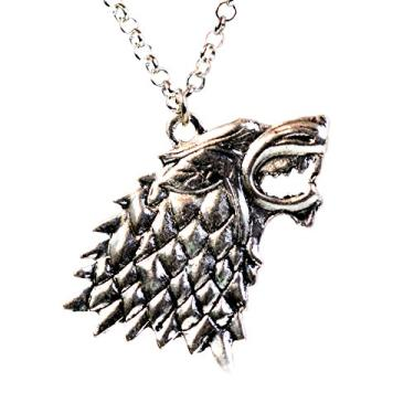 (Style 1) - Game of Thrones House of Stark Direwolf Head Pendant Necklace Dark Horse Sigil