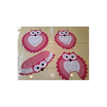 Imagem de Jogo de banheiro crochê coruja feliz rosa