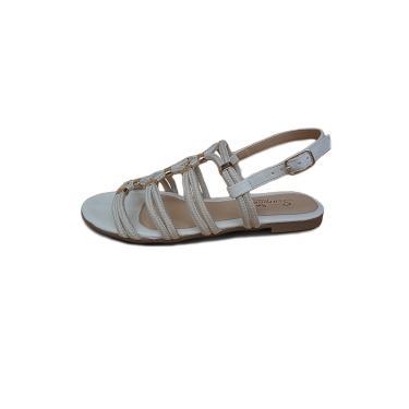 Rasteira Scarpan Calçados Finos sandália de cordas Marfim com Enfeite Ouro  feminino