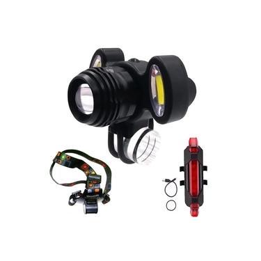 Farol Recarregável Para Bicicleta Bike ou Cabeça + Lanterna Sinalizador Traseiro Kit Profissional