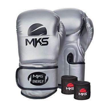 Kit Luva de Boxe MKS Energy V2 Silver e Bandagem Preta 2,55m (18 oz)